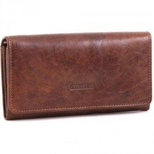 Chiarugi Classic Geldbörse Damen Leder braun 17 cm