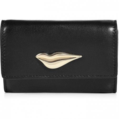 Diane von Furstenberg Black Leather Lips Card Case