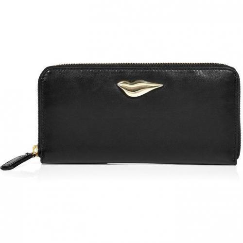 Diane von Furstenberg Black Leather Lips Zip Around Wallet