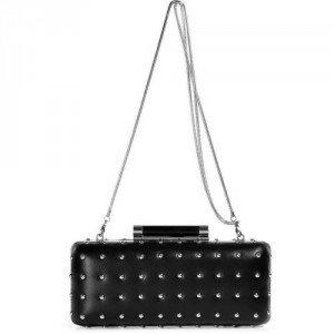 Diane von Furstenberg Black Leather Studded Clutch