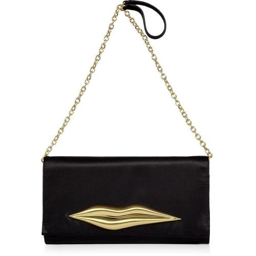 Diane von Furstenberg Black Satin Carolina Lip Clutch