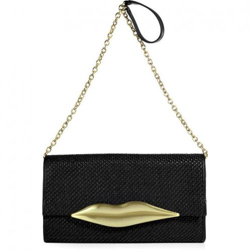 Diane von Furstenberg Black Woven Raffia Carolina Lips Clutch