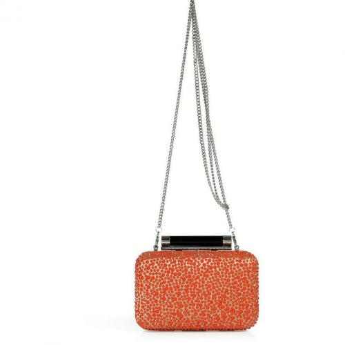 Diane von Furstenberg Bright Coral/Multi Leather/Crystal Tonda Clutch
