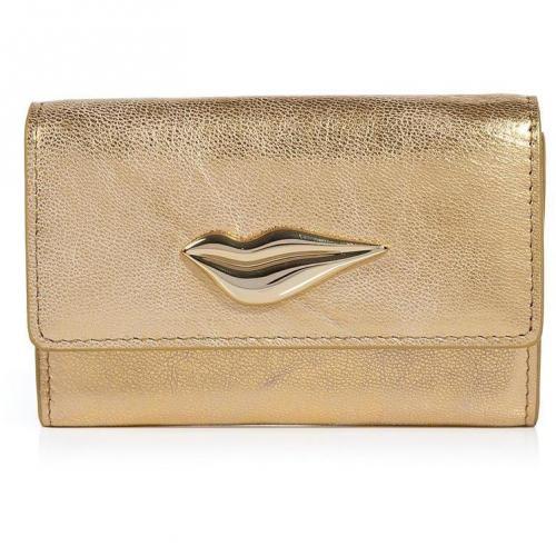 Diane von Furstenberg Gold Leather Lips Card Case