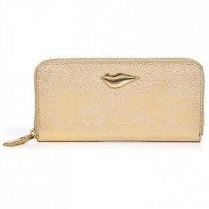Diane von Furstenberg Gold Leather Lips Zip Around Wallet