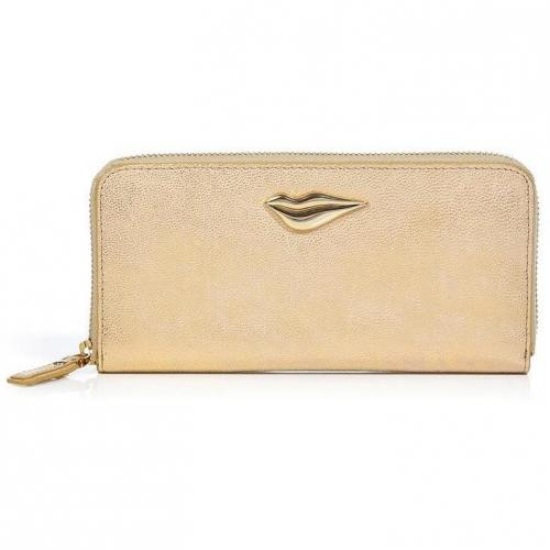 Diane von Furstenberg Gold Leather Lips Zip Around Wallet
