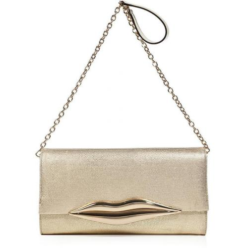 Diane von Furstenberg Golden Canvas Carolina Lips Clutch