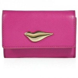 Diane von Furstenberg Pink Fuschia Leather Lips Card Case