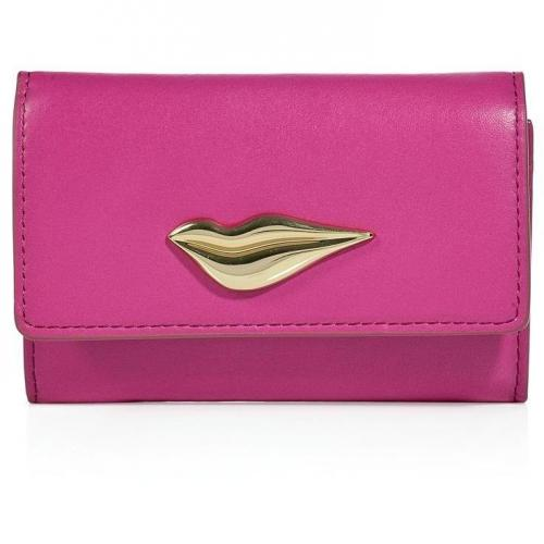 Diane von Furstenberg Pink Fuschia Leather Lips Card Case