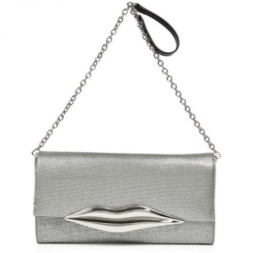 Diane von Furstenberg Silver Canvas Carolina Lips Clutch