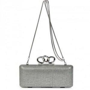 Diane von Furstenberg Silver/Multi Canvas/Leather Sutra Clutch