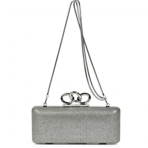 Diane von Furstenberg Silver/Multi Canvas/Leather Sutra Clutch