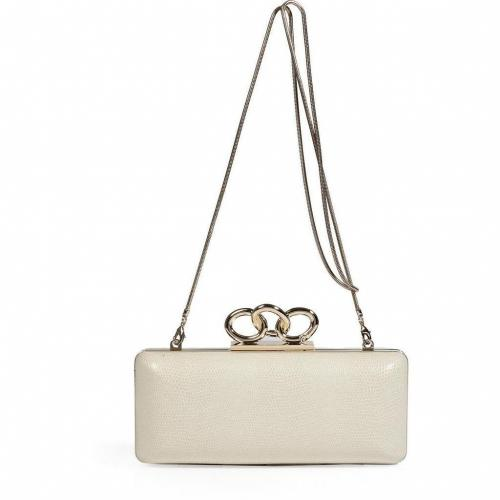 Diane von Furstenberg White Leather/Embossed Leather Sutra Clutch