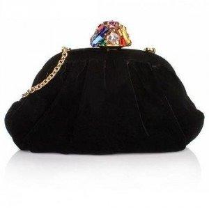 Dolce&Gabbana Bella Clutch Velvet Black