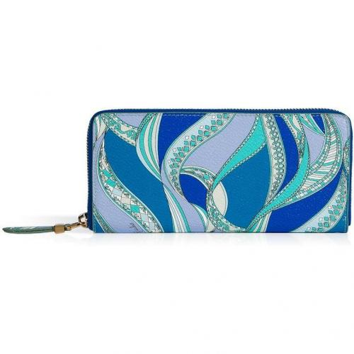 Emilio Pucci Blue/Aqua Zip Around Wallet