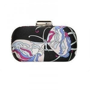 Emilio Pucci Evening Papillion Satinclutch mit Druck