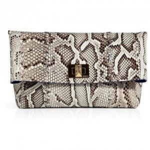 Emilio Pucci Natural Python Fold-Over Clutch