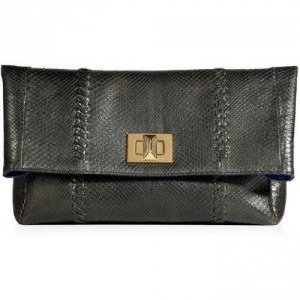 Emilio Pucci Slate Metallic Python Fold-Over Clutch