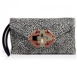 Etro Black/White Calfhair Clutch