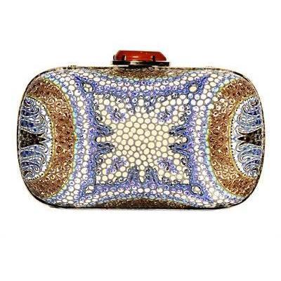 Etro Manisha Lederclutch mit Mosaikdruck