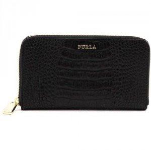 Furla Zip Around Geldbörse Damen Leder schwarz 19 cm