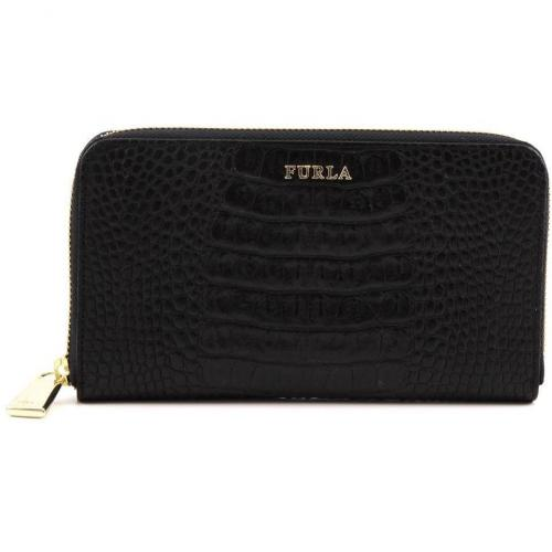 Furla Zip Around Geldbörse Damen Leder schwarz 19 cm