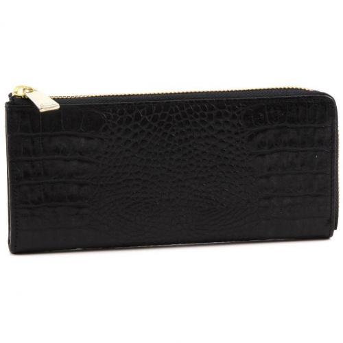 Furla Zip Around Geldbörse Damen Leder schwarz 19,5 cm