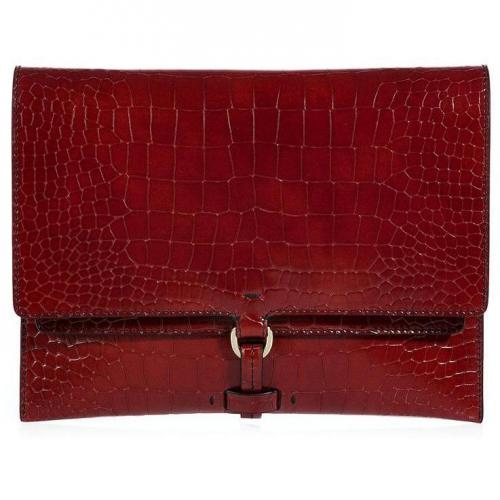 Jil Sander Brick Red Embossed Leather Envelope Clutch