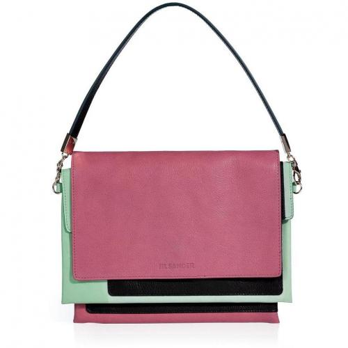 Jil Sander Candy/Mint Leather Clutch with Removable Strap