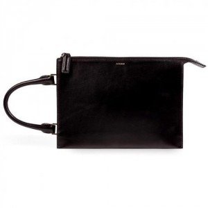 Jil Sander Convertible Leather Clutch in Black