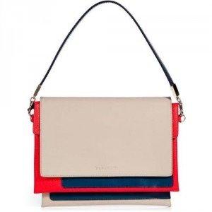 Jil Sander Hazel/Coral Leather Clutch with Removable Strap