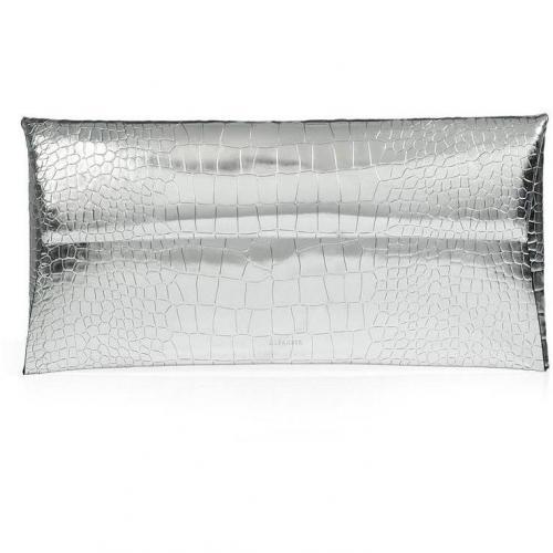 Jil Sander Silver Embossed Leather Envelope Clutch