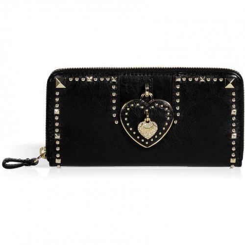 Juicy Couture Black Leather Heart Zip Wallet