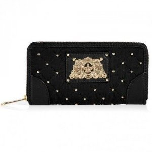 Juicy Couture Black Quilted Nylon Zip Wallet