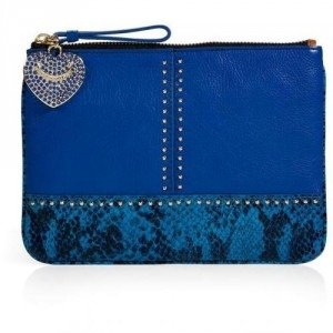 Juicy Couture Bright Lapis Embossed Snake and Stud Leather Med Pouch