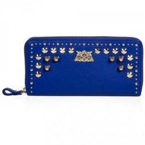 Juicy Couture Bright Lapis Tough Girl Leather Zip Wallet