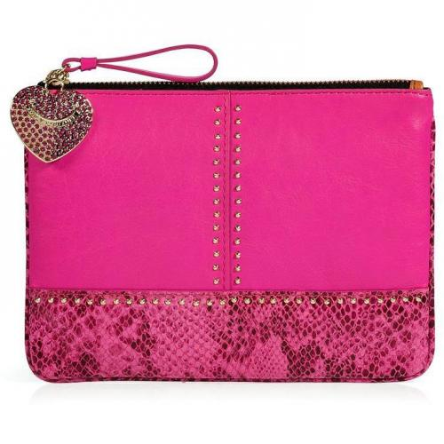 Juicy Couture Hot Pink Embossed Snake and Stud Leather Med Pouch