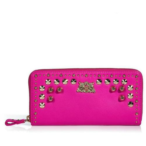 Juicy Couture Pink Cerise Tough Girl Leather Zip Wallet