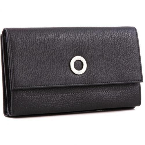 Lamarthe Paris Geldbörse Damen Leder schwarz 18,5 cm