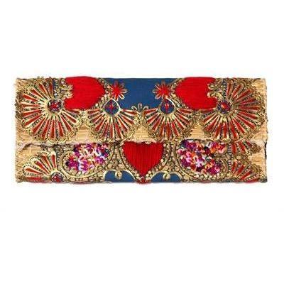 Laurence Heller Clutch aus Baumwolle und Stroh mit Pailletten blue red