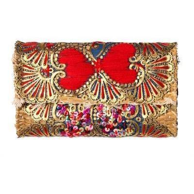 Laurence Heller Clutch aus Baumwolle und Stroh mit Pailletten red