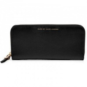 Marc by Marc Jacobs Black Leather Slim Zip Around Wallet
