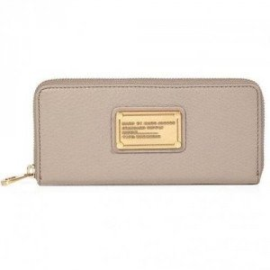 Marc by Marc Jacobs Cement Leather Classic Q Slim Zip Around Wallet