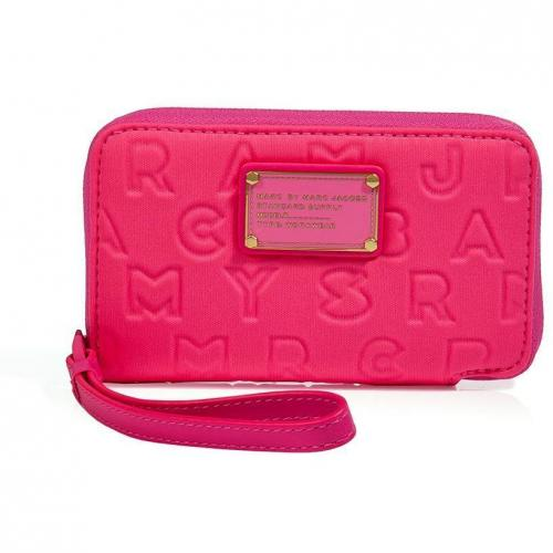 Marc by Marc Jacobs Fluo Fuchsia Neoprene Wingman Wallet
