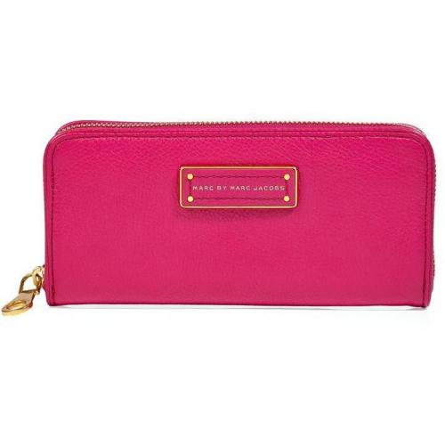 Marc by Marc Jacobs Fuchsia Slim Zip Around Leather Wallet