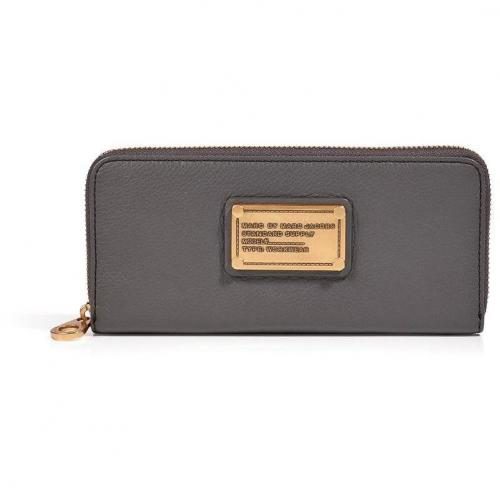 Marc by Marc Jacobs Gunmetal Leather Classic Q Slim Zip Around Wallet