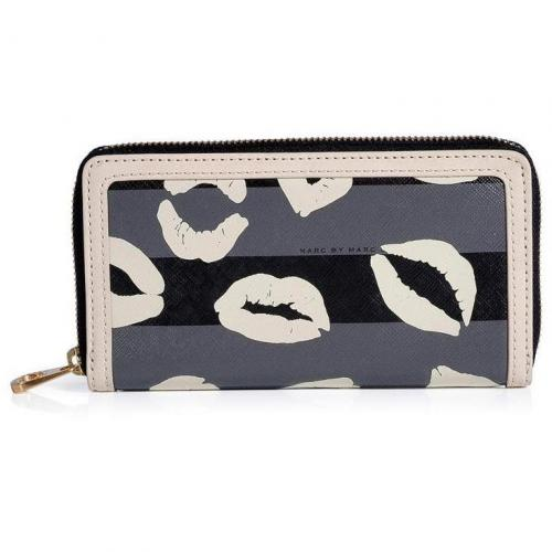 Marc by Marc Jacobs Gunmetal Multi Stripey Lips PVC Slim Zippy Wallet
