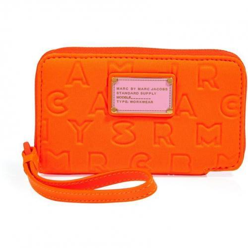 Marc by Marc Jacobs Shocking Orange Neoprene Wingman Wallet