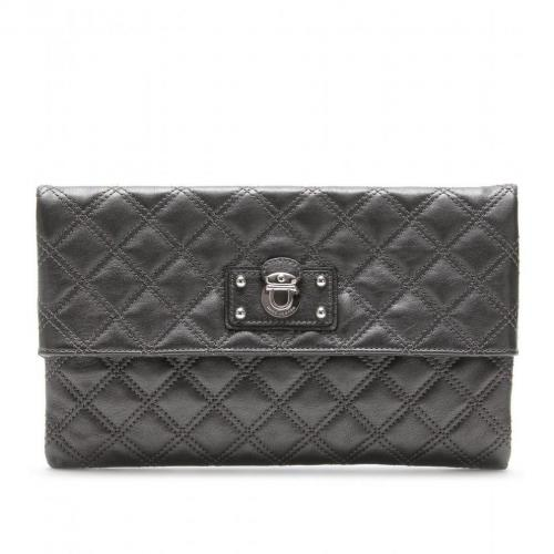 Marc Jacobs Large Eugenie Lederclutch anthrazit