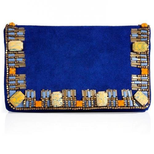 Matthew Williamson Electric Blue Suede Embellished Clutch
